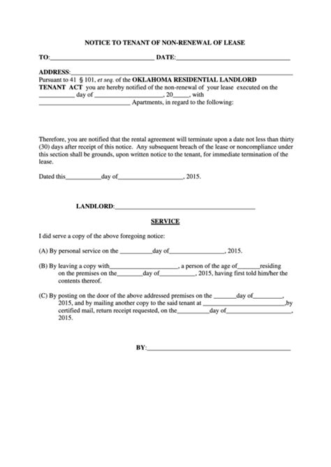 notice  tenant   renewal  lease printable