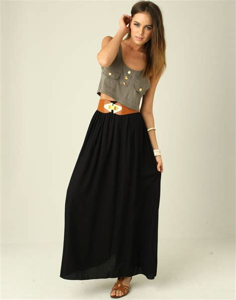Black Maxi black maxi skirt dressed up