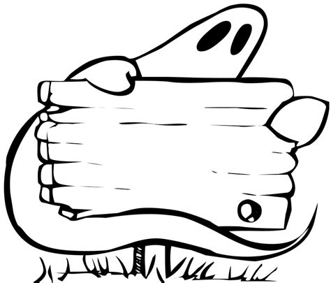 blank ghost coloring pages happy halloween clipart