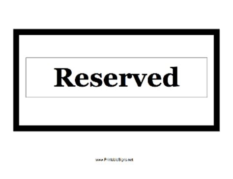 Printable Reserved Sign Reserved Table Sign Template