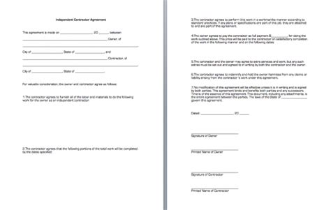 Independent Contractor Agreement Free Template independent contractor agreement business forms