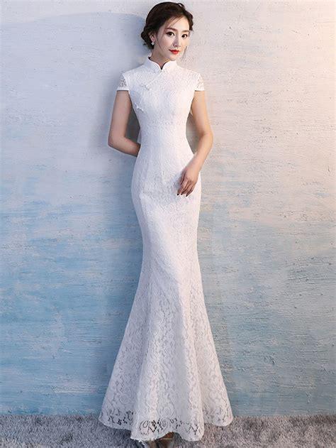 Cheongsam Dress White white lace qipao cheongsam wedding dress cozyladywear