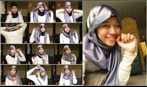 memakai jilbab segi empat gaya korea tutorial