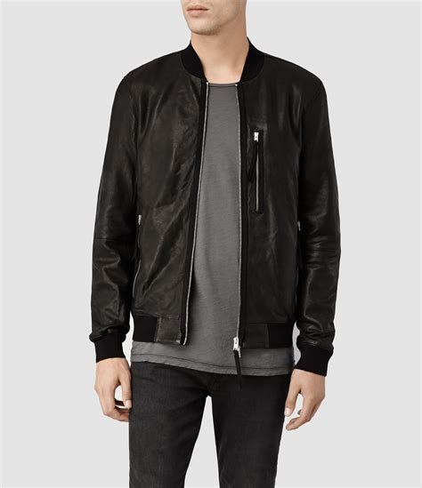 Bomber Leather by Allsaints Blenham Leather Bomber Jacket In Black For Lyst