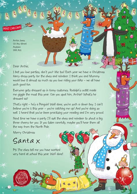 personalised letter from santa charity nspcc letters from santa of one