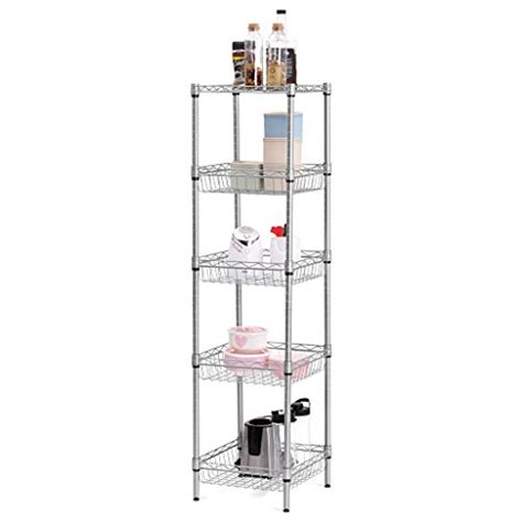 langria 5 tier wire shelving square tower shelving