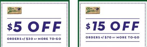 olive garden coupons email olive garden coupons 5 to 15 off to go orders