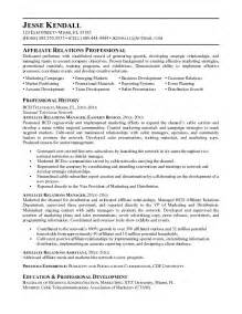 Relations Manager Sle Resume by Exle Affiliate Relations Manager Resume Free Sle