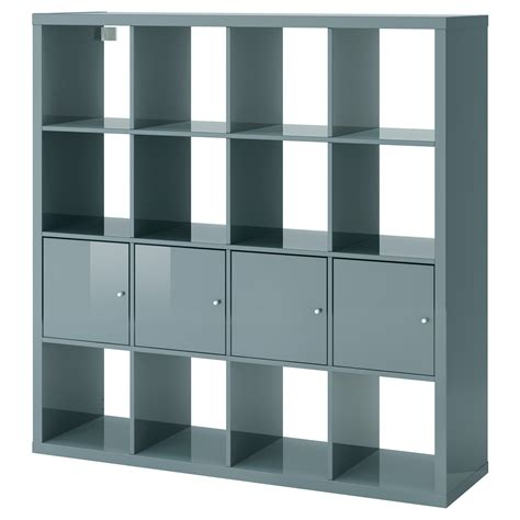 etagere ikea kallax shelving unit with 4 inserts high gloss grey
