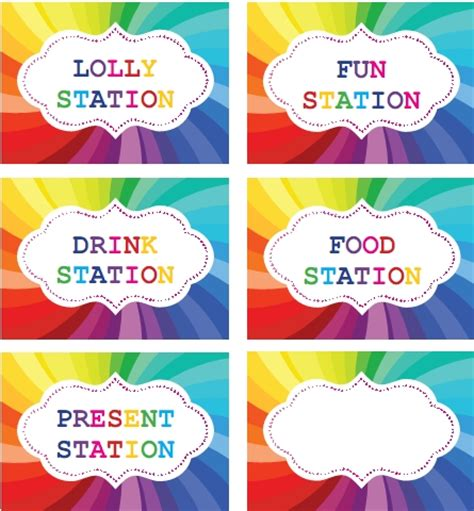 printable labels nz rainbow party printable labels for table setting rainbow