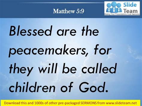 matthew 5 9 blessed are the peacemakers power point church