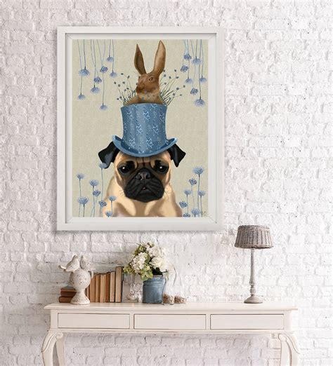 pug home decor pug milliners print by fabfunky home decor notonthehighstreet