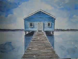 das haus de bild haus see wasser blau tammirudolph bei kunstnet