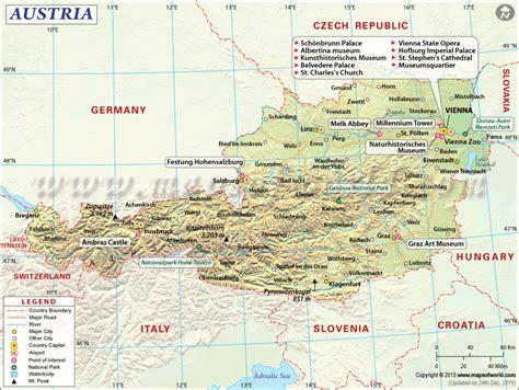 austria on map austria map map of austria