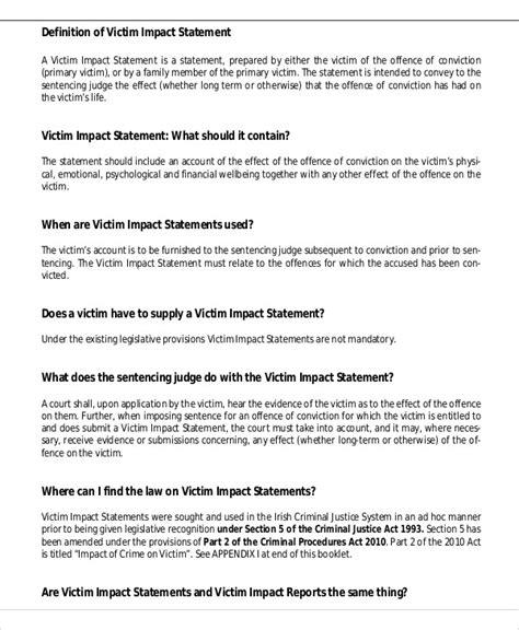 victim impact statement sle victim impact statement 9 exles in word pdf
