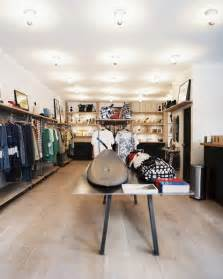 Retail space surfboards and apparel on display in a retail
