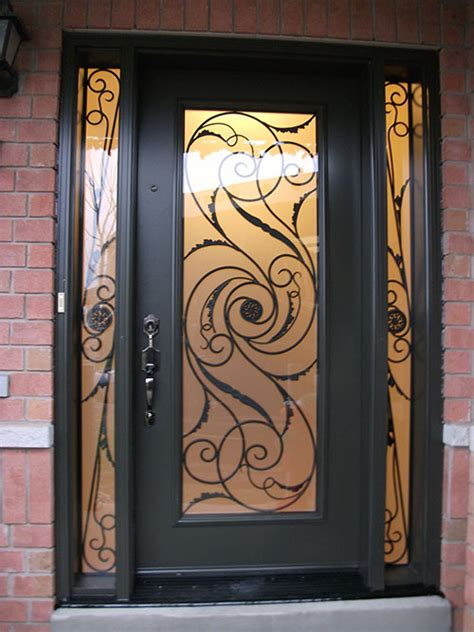 Exterior Wrought Iron Doors Windows And Doors Toronto Wrought Iron Door Exterior Door Milan Design With 2 Side Lites