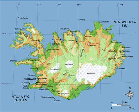printable road map iceland large detailed physical map of iceland with roads and