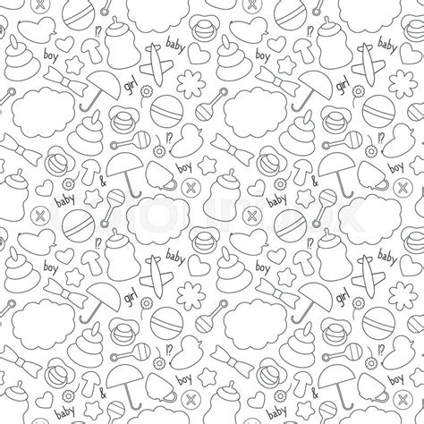 black and white pattern for babies cute hand drawn baby seamless pattern background in black