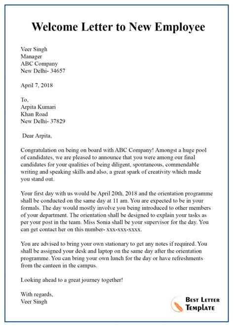 letter template employee format sample
