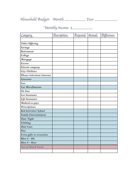 house budget blank budget sheets forms myideasbedroom com