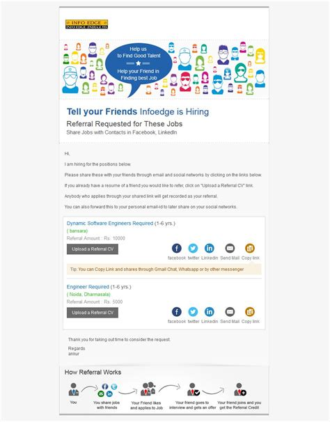 referral email template employee referral program email template www pixshark