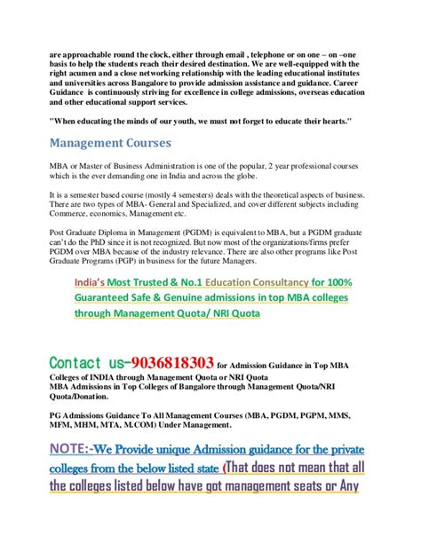 Mba In General Management Careers by Mba In General Management Admission Through Management Quota