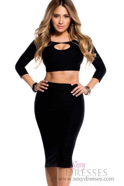black bodycon reversible keyhole crop top and midi