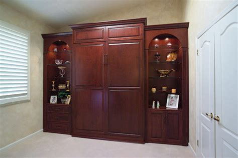 Cabinets For Bedroom by Stained Wood Wall Bed Side Cabinets Traditional