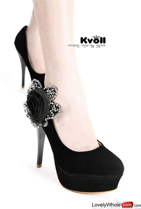 New Kvoll Size 34 42 R18 kvoll shoes big flower pumps black pumps shoes