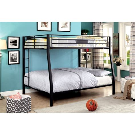 full over queen bunk beds furniture of america rivell full over queen metal bunk bed