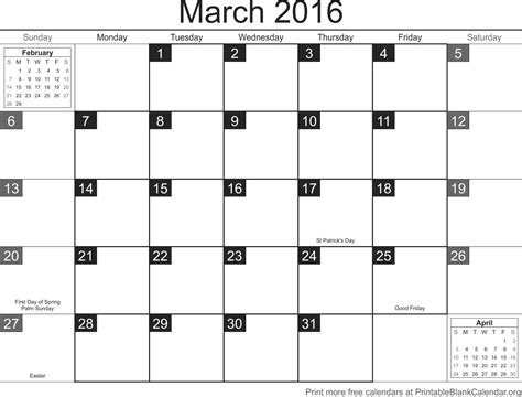 printable planner march 2016 march 2016 printable calendar template printable blank
