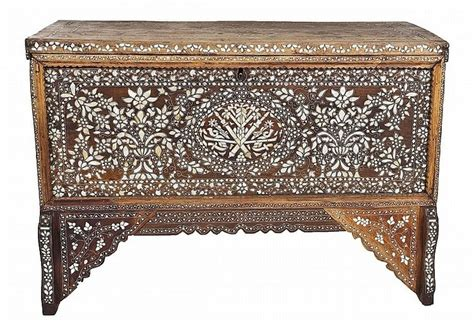 late 19th century cherry inlaid late 19th century syrian inlaid wood chest inlaid with of pearl mothers of