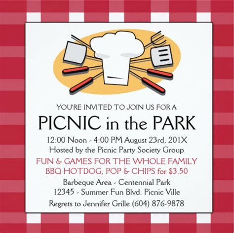 picnic invitation card template picnic invitation template 26 sle exle format