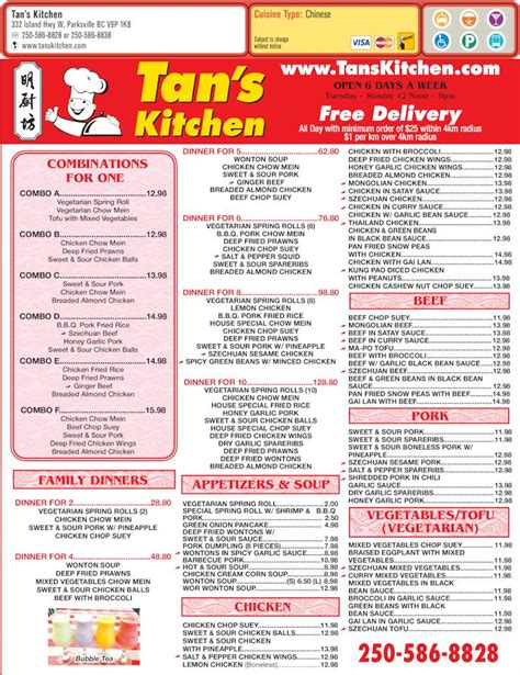 Tan S Kitchen Parksville Bc 332 Island Hwy W Canpages S Kitchen Menu