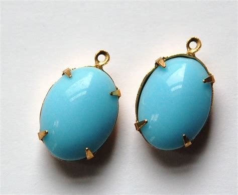 light blue stone name vintage opaque light turquoise blue stone in one loop brass
