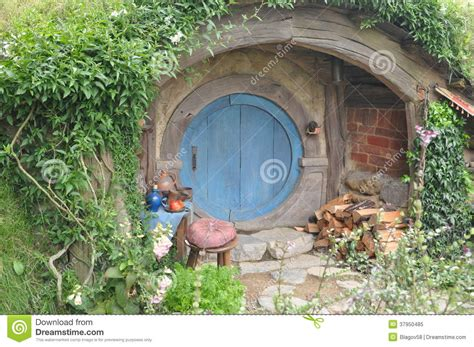 hobbit house glossary hobbit house with blue door editorial image image 37950485