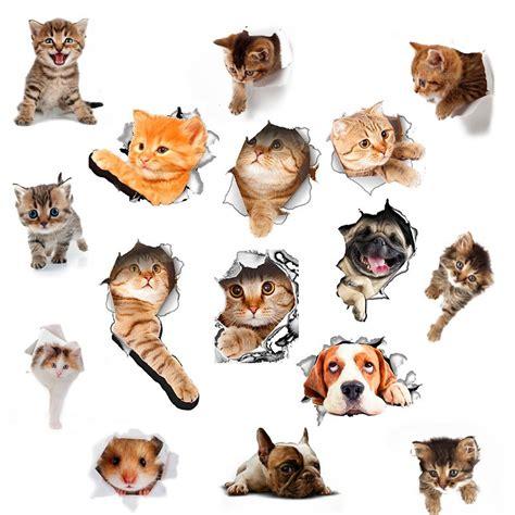 Stiker 3d Kucing cod stiker dinding desain binatang kucing 3d untuk kulkas