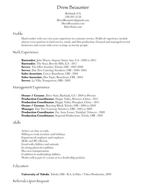 dining server resume sle search results calendar 2015