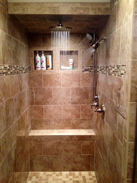 Walk In Tile Shower Three Shower Heads Rain Shower Bathroom Showers Designs Walk In 2