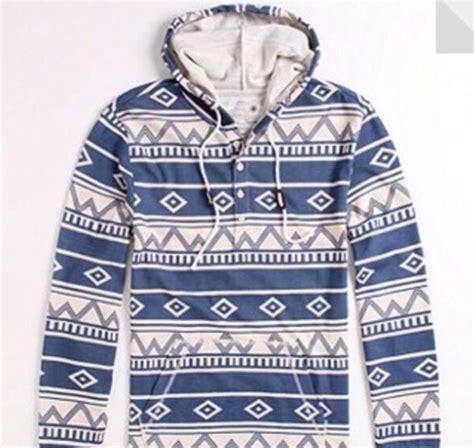 tribal pattern pullover hoodie jacket blue white hoodie sweatshirt tribal pattern