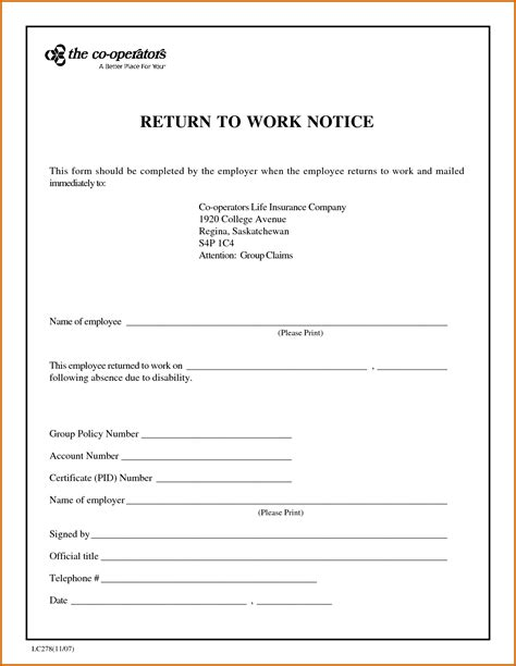 Certificate Return Letter 7 Sle Return To Work Letter From Doctor Lease Template