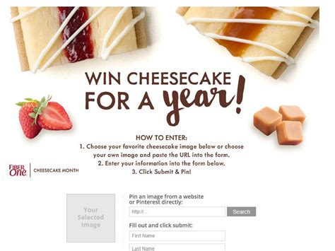 Pinterest Sweepstakes - fiber one cheesecake pinterest sweepstakes