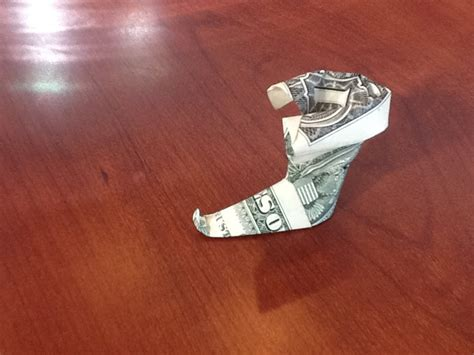 Origami Boot Dollar Bill - dollar origami boot