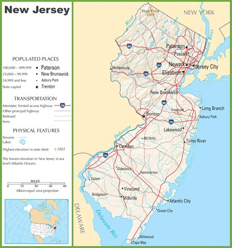 america map new jersey new jersey highway map