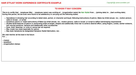 Work Experience Letter For Beautician Hair Stylist Work Experience Certificate