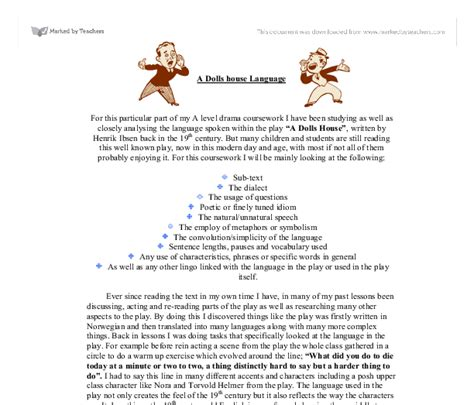 a doll house full text pdf a dolls house language a level english marked by teachers com