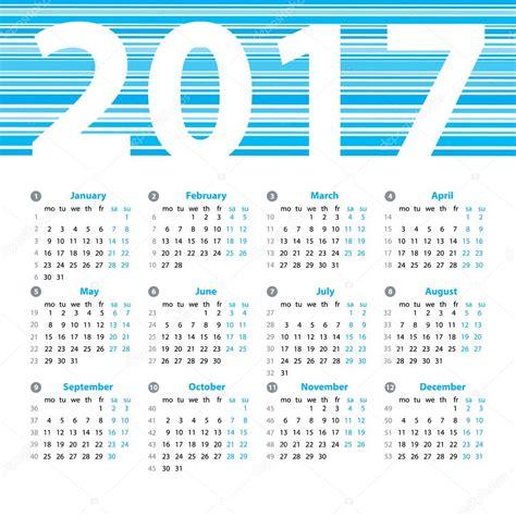 calendario con settimane modello di disegno di vettore di anno di calendario 2017