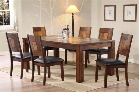 rectangle dining room table sets rectangle brown wooden table combined with chairs plus black leather seat on the brown rug of