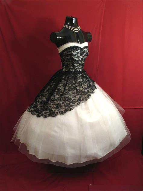 Black And White Vintage Dress vintage 1950 s 50s strapless black white lace tulle